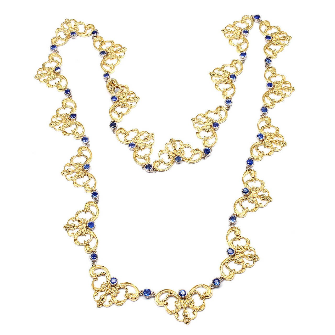 Buccellati Sapphire Gold 24 Inch Long Necklace For Sale