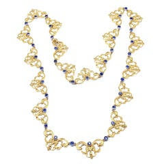 Buccellati Sapphire Gold 24 Inch Long Necklace
