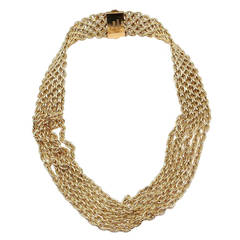 Hermes Six Row Link Choker Wide Yellow Gold Necklace