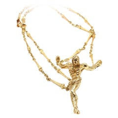 Salvador Dali Large Christ Saint John On The Cross Yellow Gold Bracelet Necklace