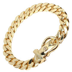 Hermes Curb Link Chain Large Buckle Yellow Gold Bracelet