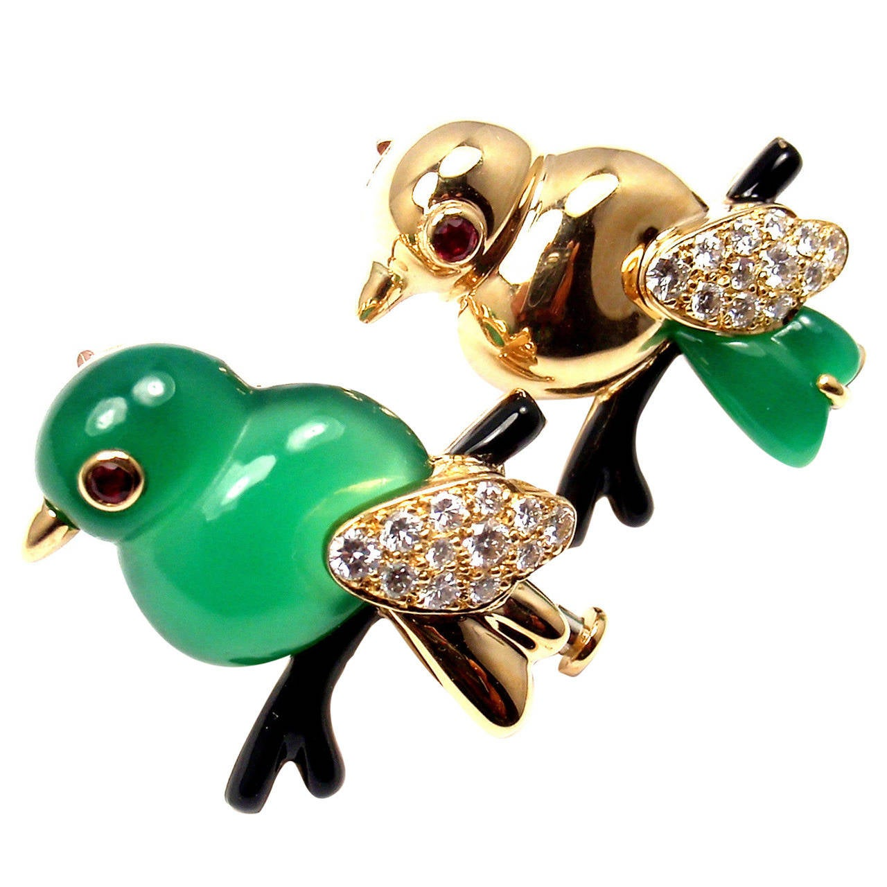 Cartier Onyx Ruby Chalcedony Diamond Set of Two Yellow Gold Bird Pins Brooches 1