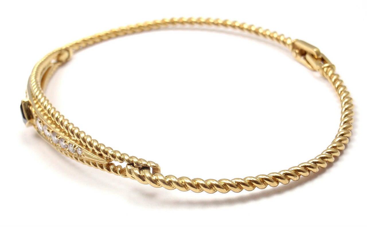 Women's Christian Dior Sapphire Diamond Yellow Gold Bangle Bracelet For Sale