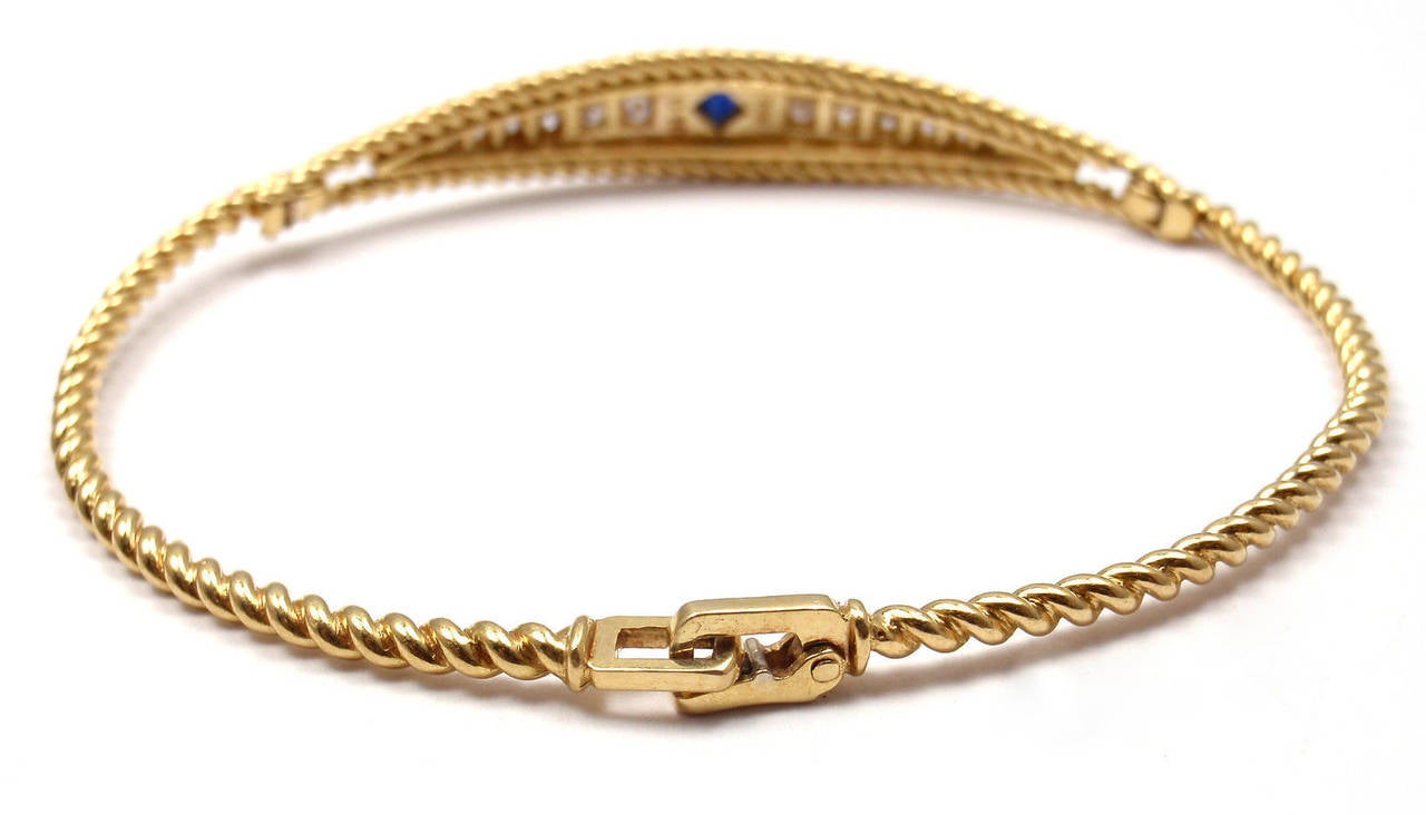 Christian Dior Sapphire Diamond Yellow Gold Bangle Bracelet In As New Condition For Sale In Southampton, PA