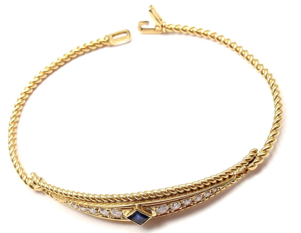 Christian Dior Sapphire Diamond Yellow Gold Bangle Bracelet 6