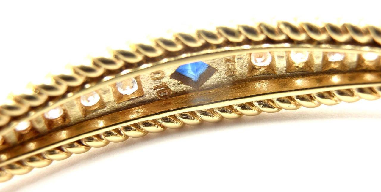 Christian Dior Sapphire Diamond Yellow Gold Bangle Bracelet For Sale 3