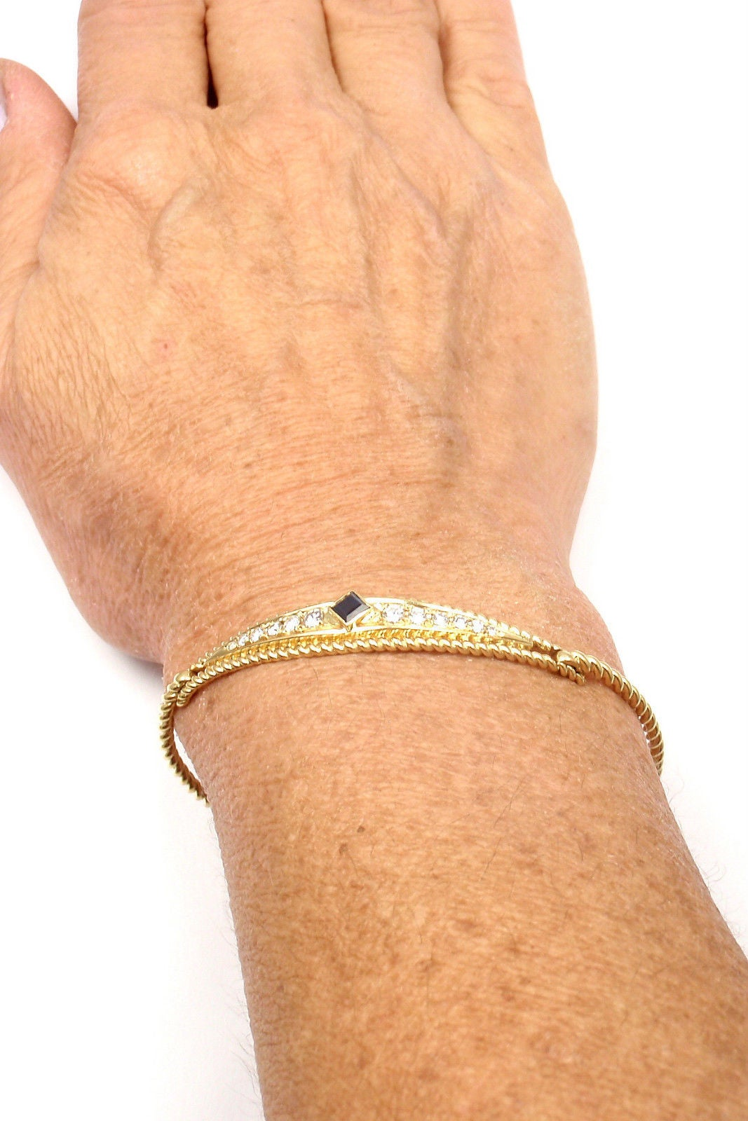 Christian Dior Sapphire Diamond Yellow Gold Bangle Bracelet 8