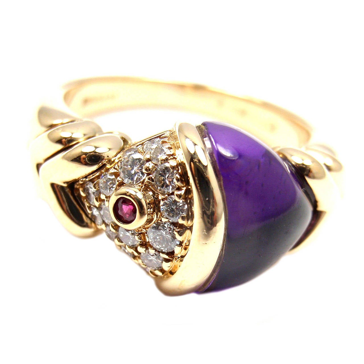 Bulgari Amethyst Ruby Diamond Yellow Gold Naturalia Fish Ring