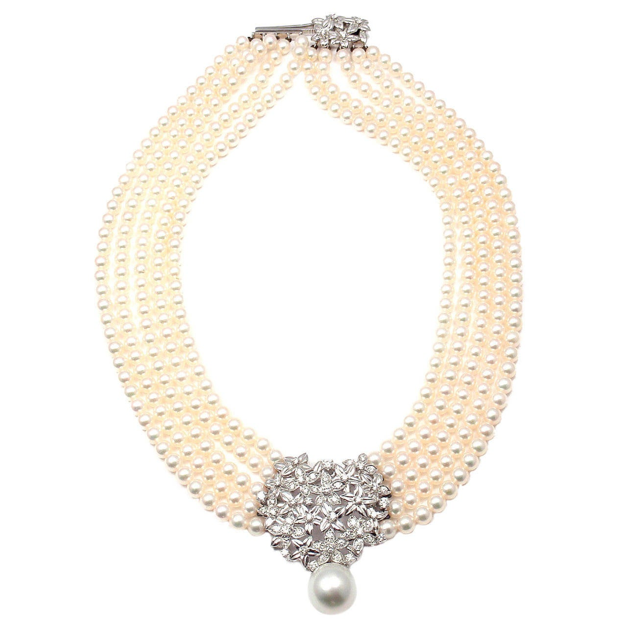 Mikimoto Five Strand Pearl Diamond White Gold Choker Necklace For Sale