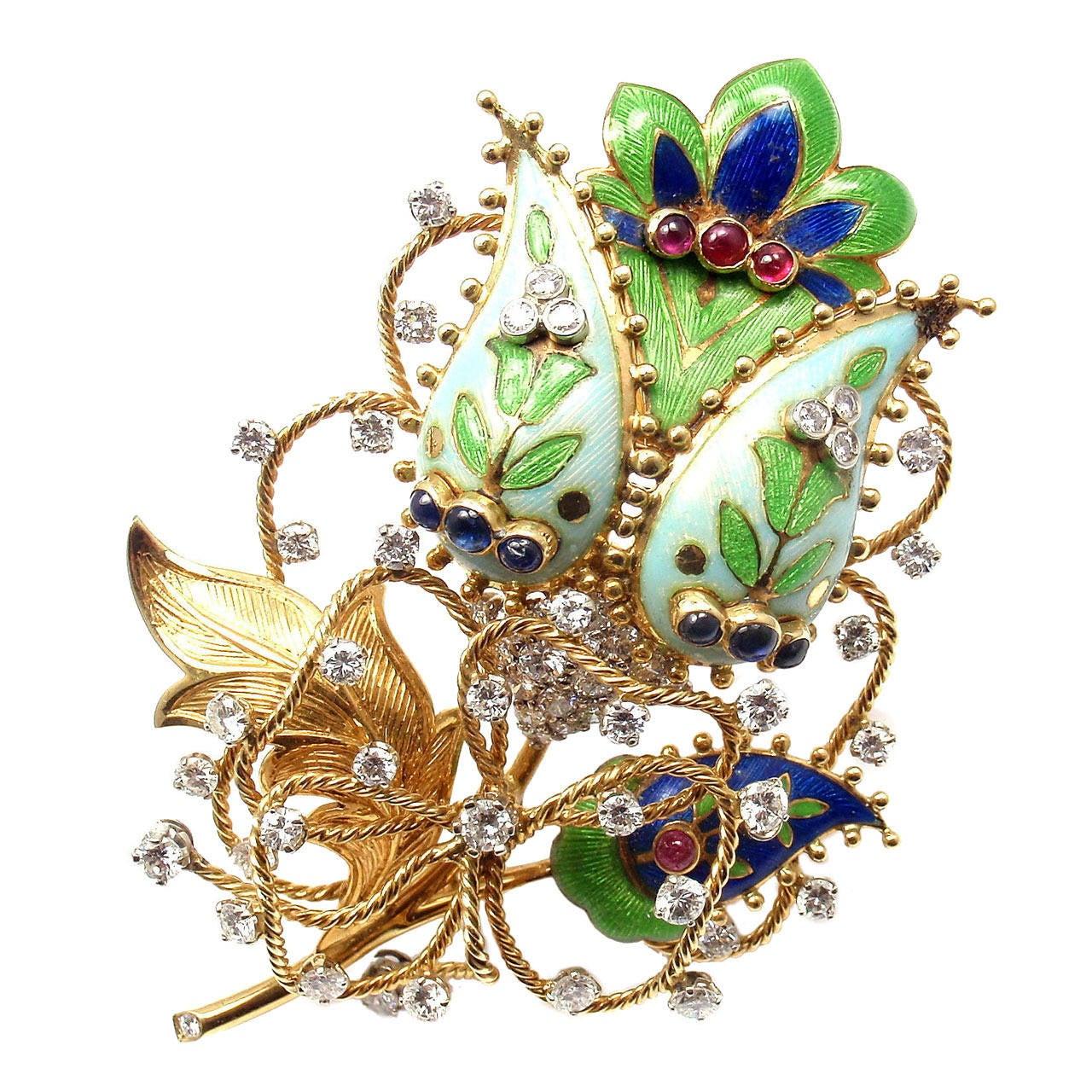 Tiffany And Co Enamel Ruby Sapphire Diamond Yellow Gold