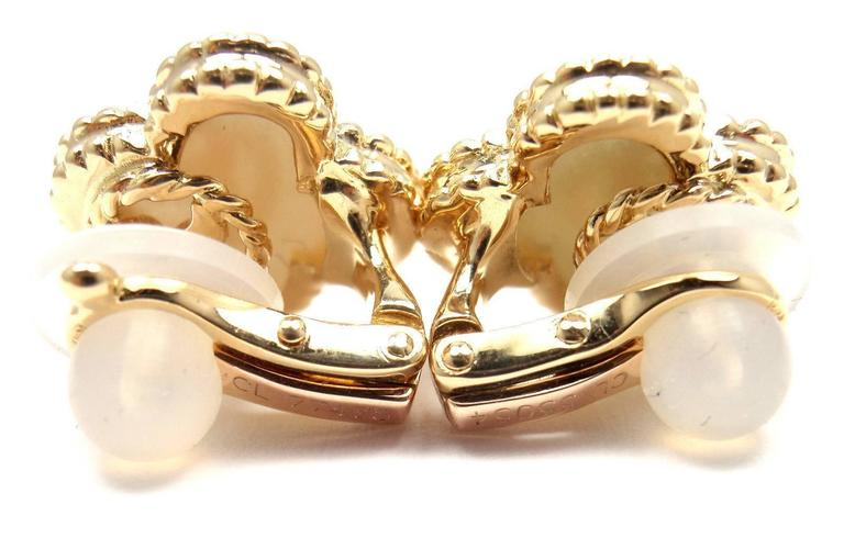 Van Cleef & Arpels Vintage Alhambra Mother Of Pearl Gold Earrings 3