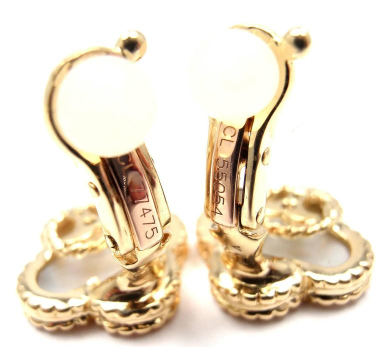 Van Cleef & Arpels Vintage Alhambra Mother Of Pearl Gold Earrings 7