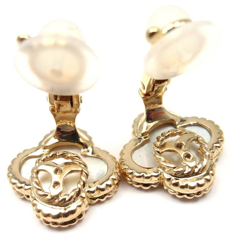 Van Cleef & Arpels Vintage Alhambra Mother Of Pearl Gold Earrings 9