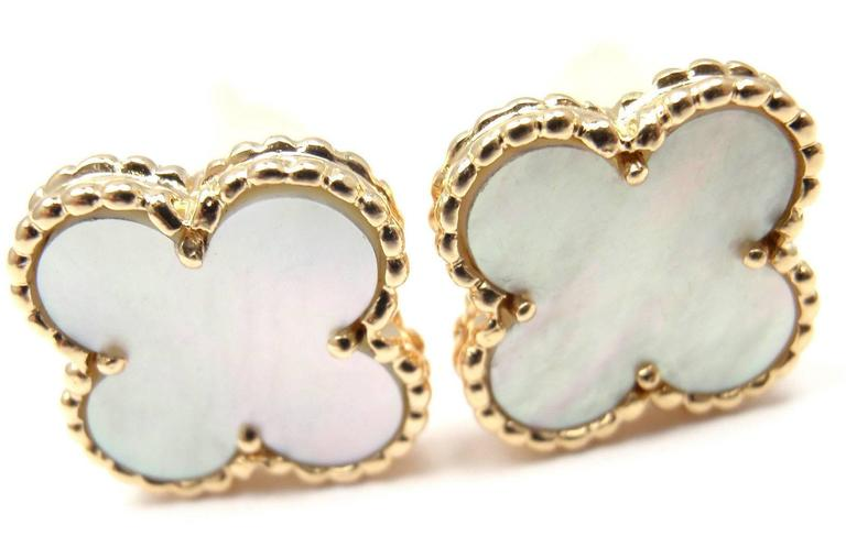 Van Cleef & Arpels Vintage Alhambra Mother Of Pearl Gold Earrings 2
