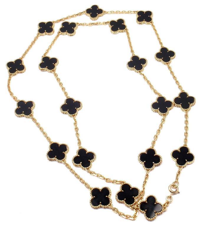 Van Cleef & Arpels 20 motif Onyx gold Vintage Alhambra Necklace 3