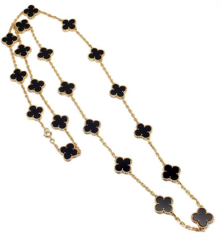 Van Cleef & Arpels 20 motif Onyx gold Vintage Alhambra Necklace 5