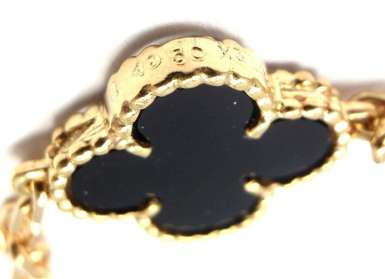Van Cleef & Arpels 20 motif Onyx gold Vintage Alhambra Necklace 7