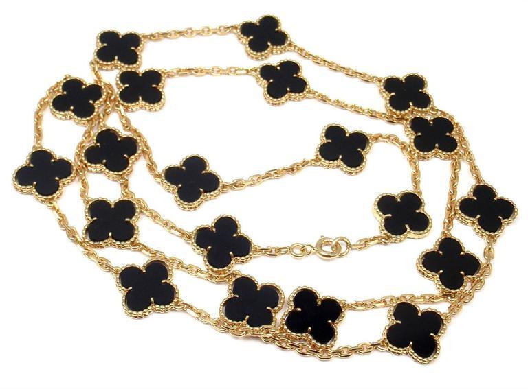 Van Cleef & Arpels 20 motif Onyx gold Vintage Alhambra Necklace 8