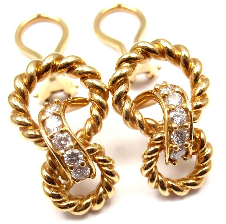 Tiffany & Co. Diamond Gold Earrings In As New Condition For Sale In Southampton, PA