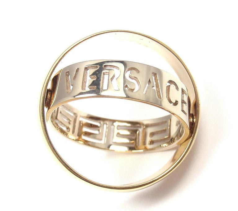 Versace Orbiting Two Color Gold Band Ring Pendant 2