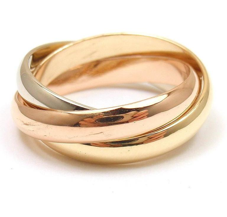 Cartier Les Must De Cartier Three Color Gold Trinity Band Ring at