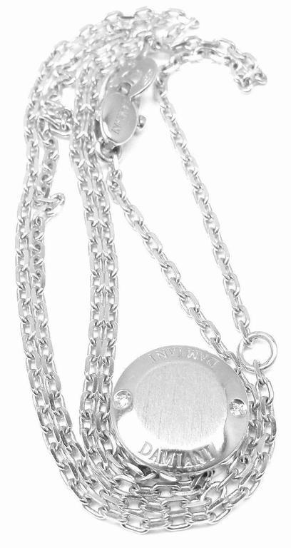 Women's Damiani BLASONI Diamond White Gold Pendant Necklace For Sale
