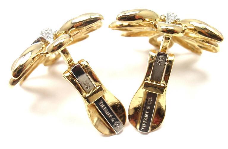 Tiffany & Co. Large Diamond Gold Earrings 2