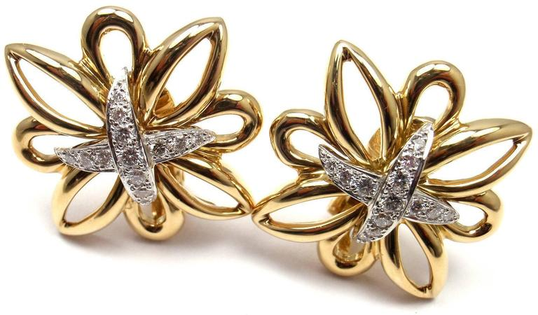 Tiffany & Co. Large Diamond Gold Earrings 5