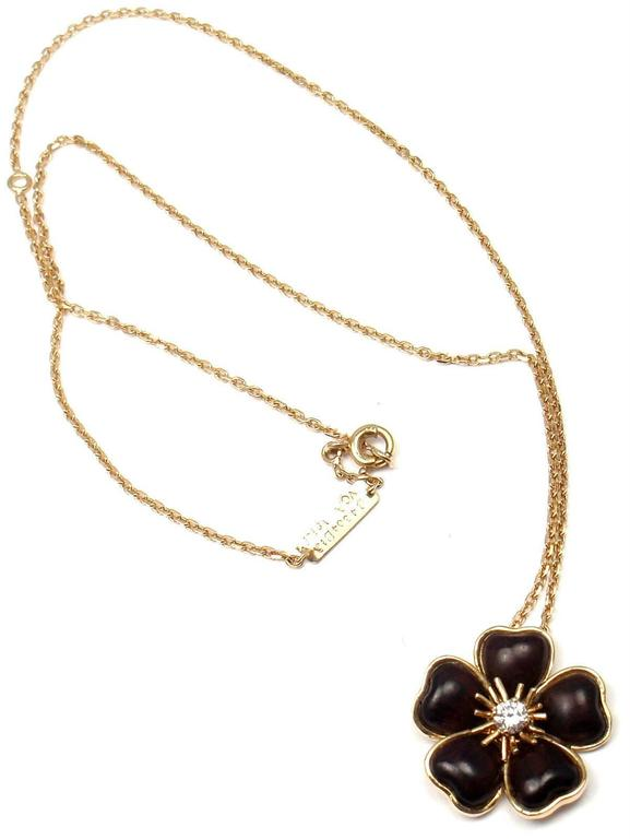 Van cleef and arpels nerval wood diamond gold flower pendant 18k yellow gold nerval wood diamond flower pendant necklace by van cleef amp arpels aloadofball Gallery