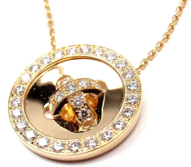 Van Cleef & Arpels Diamond Gold Button Pendant Necklace 5
