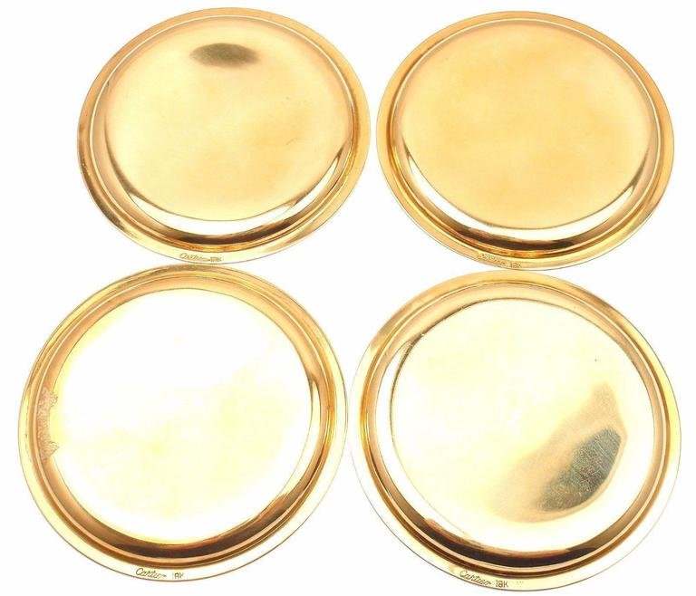 Art Deco Cartier Set Of Four Gold Coasters For Sale