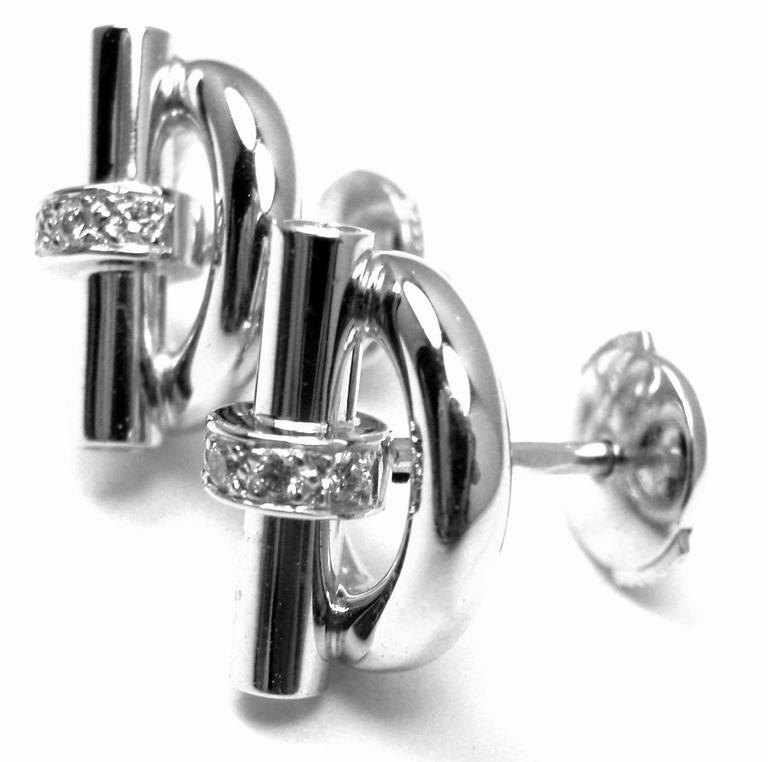 Hermes Diamond Gold Earrings 2