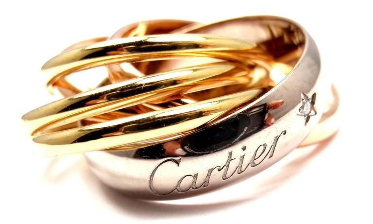 Cartier Trinity Six Band Diamond Tri-Color Gold Band Ring  In As New Condition For Sale In Southampton, PA
