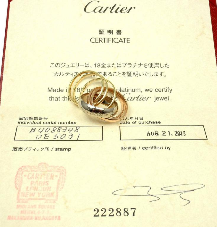 Cartier Trinity Six Band Diamond Tri-Color Gold Band Ring  For Sale 3