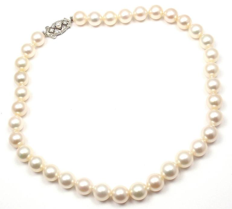 Mikimoto Tahitian Pearl Necklace: Mikimoto Cultured Graduated Akoya Pearl Diamond Gold