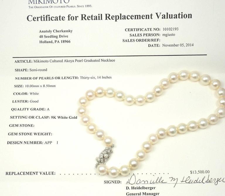 Mikimoto Cultured Graduated Akoya Pearl Diamond Gold