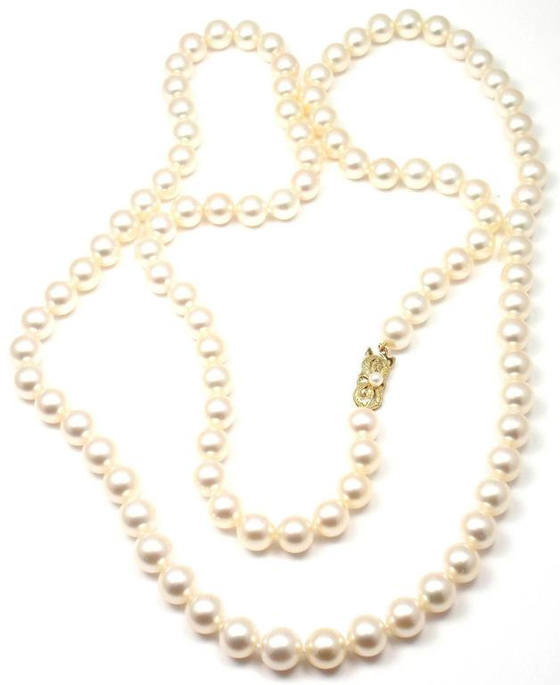 Mikimoto Pearls Necklace: Mikimoto Cultured Akoya 10mm Pearl Gold 40 Inch Long