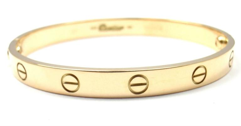 Cartier Love Yellow Gold Bangle Bracelet Size 17 6