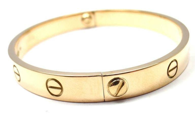 Cartier Love Yellow Gold Bangle Bracelet Size 17 3