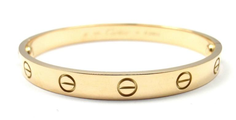 Cartier Love Yellow Gold Bangle Bracelet Size 17 2