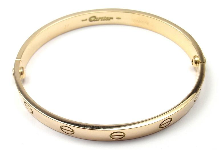 Cartier Love Yellow Gold Bangle Bracelet Size 17 4