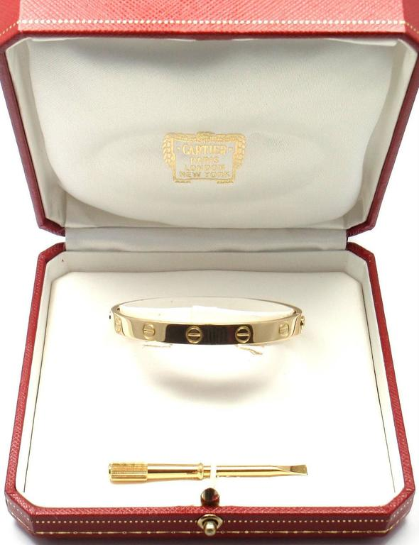 Cartier Love Yellow Gold Bangle Bracelet Size 17 7