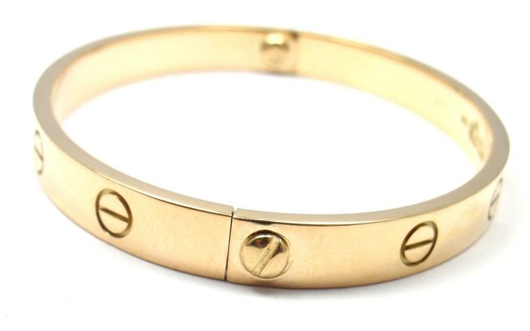 Cartier Love Yellow Gold Bangle Bracelet Size 17 5