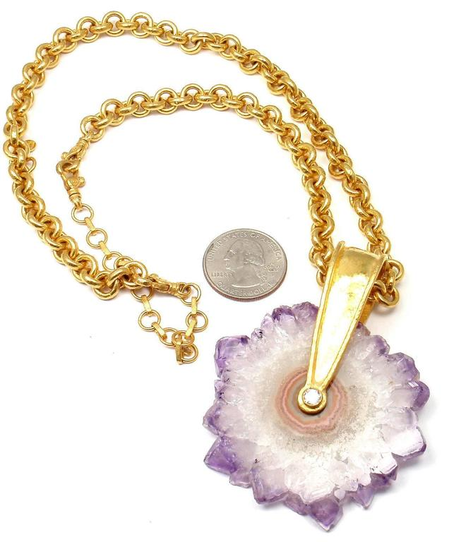 Gurhan Diamond Large Amethyst Yellow Gold Pendant Necklace 4