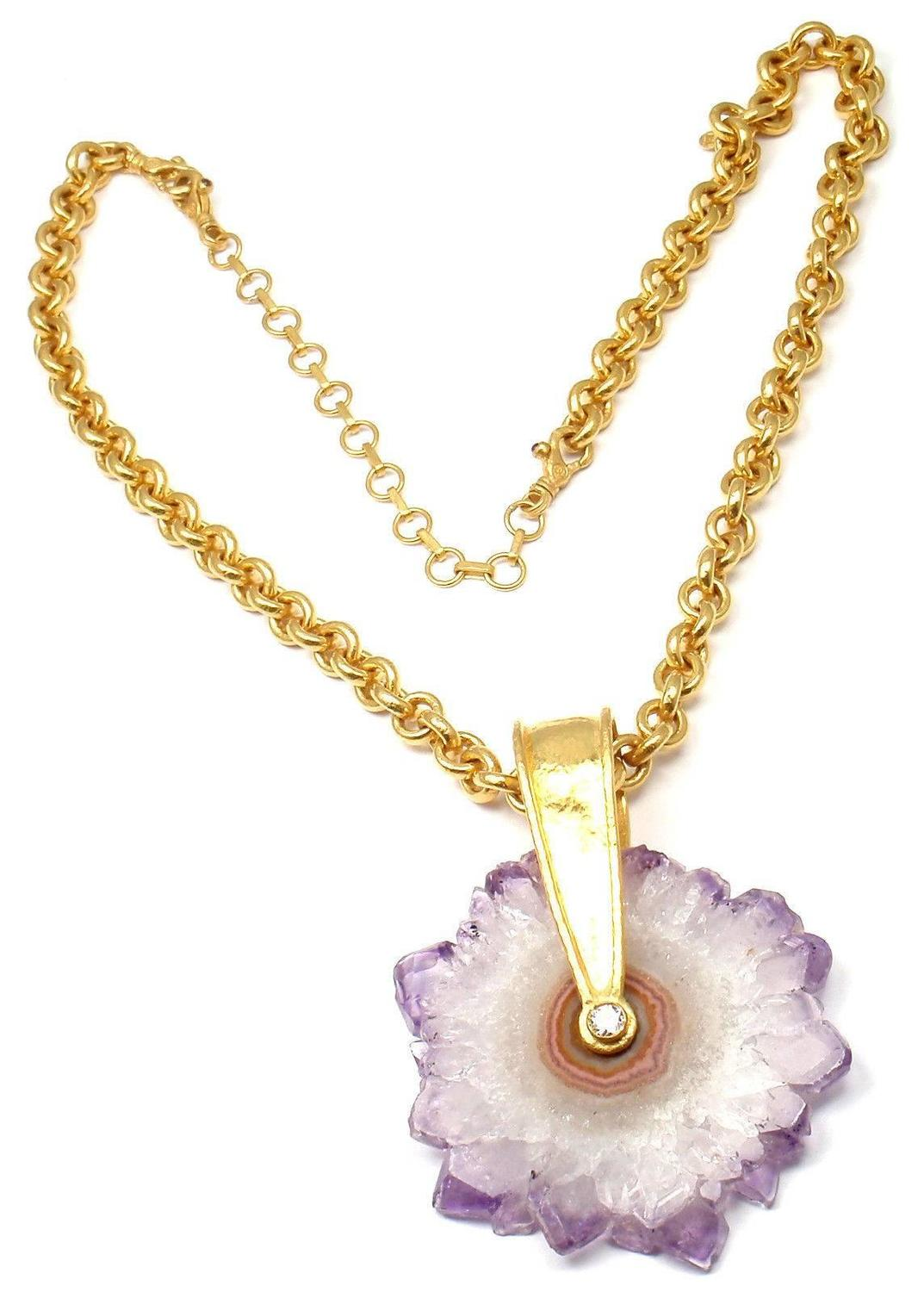 guhran jewelry gurhan large amethyst yellow gold pendant necklace 8940