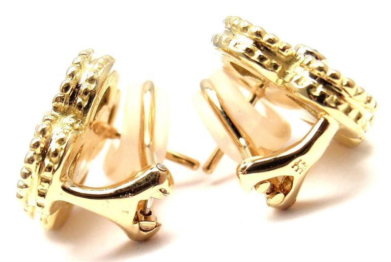 Women's Van Cleef & Arpels Alhambra Mother Of Pearl Diamond Gold Earrings For Sale