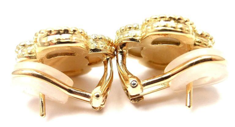 Van Cleef & Arpels Alhambra Mother Of Pearl Diamond Gold Earrings For Sale 5