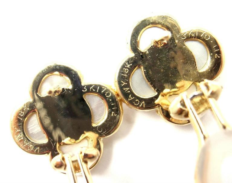 Van Cleef & Arpels Alhambra Mother Of Pearl Diamond Gold Earrings For Sale 2