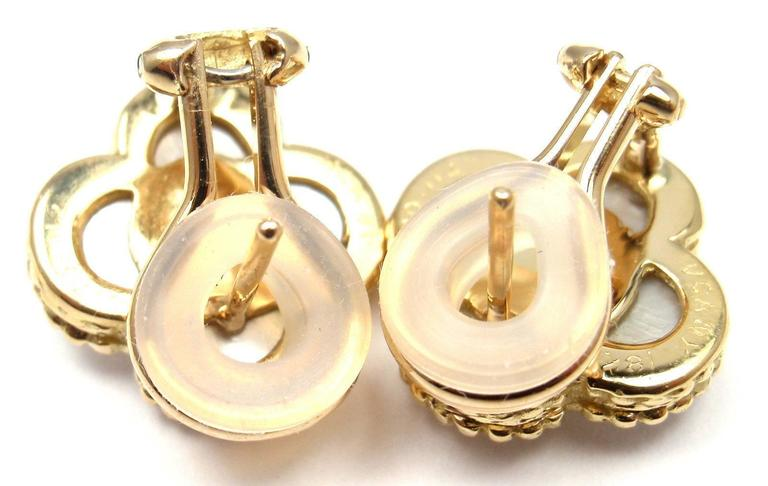 Van Cleef & Arpels Alhambra Mother Of Pearl Diamond Gold Earrings For Sale 3