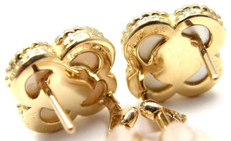 Van Cleef & Arpels Alhambra Mother Of Pearl Diamond Gold Earrings For Sale 4